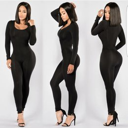 Wholesale Black Female Jumpsuit - S-XL Exotic Female Black Seamless Thin Bodysuit Sexy Dance Catsuit Erotic Bandage Bodycon Bodystocking Jumpsuit Stretchable Fitness Leotard