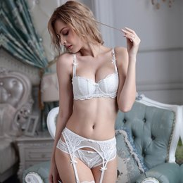 Wholesale White Bra 34d - Thin cotton cup underwear court vines jacquard lace half cup bra set Manufacturers wholesale on behalf of the hair 2011