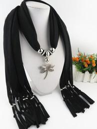 lenços de libélulas Desconto Moda Encantos Colar lenço Alloy libélula pingente de colar cachecol jóias pingente de gota de jóias borla lenços para as mulheres novo design