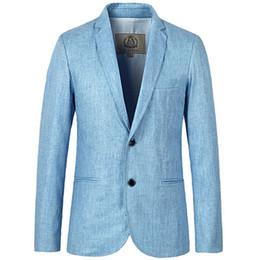 Wholesale Blazer Overcoat - Mens Slim Fit Business Casual Linen Blazer Jackets Suit Coats 2 Buttons Outwear Overcoats Plus Size