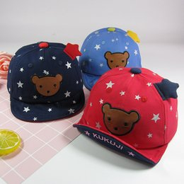 Wholesale Little Bear Hat - 2017 baby boy and girl hats Baby five-star duck tongue spring and autumn 6-24 months baby summer new cute little bear sun hat