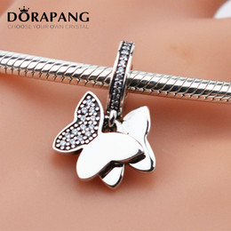 Wholesale glass butterfly beads - DORAPANG 100% 925 Sterling Silver Charms Screw Thread Flying Lover Butterfly Pure Silver Pendant Bead Fit for Bracelets Women Jewelry 2030