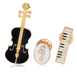 Wholesale Music Wholesalers Instruments - Newly three musical instrument brooch badge brooch grade pins special Drop rubber brooch beauty music brooches AL070 3pcs per lot