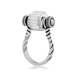 Wholesale Big Hole Crystal Bead - Fashion Rings For Women & Men Stainless Steel Screwdriver Finger Ring Horseshoe Crystal Steampunk Jewelry Fit Big Mixed Color Hole Beads