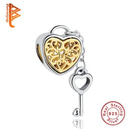 Wholesale Sterling Silver Key Bracelet - BELAWANG Real 925 Sterling Silver Heart Lock&Key Charms with Link Big Hole Loose Beads Fit Pandora Charm Bracelet&Bangle DIY Jewelry Making