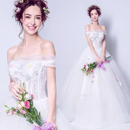 Wholesale Short White Wedding Dress China - Sexy Princess Wedding Dresses Off the Shoulder Flowers Pearls White Corset Wedding Gowns Cheap Ball Gown China Bridal Dress