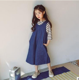 Wholesale Wide Elastic Suspenders - Kids wide leg pants girls zipper up suspender trousers children leisure loose all-matched pants Autumn new sweet girls Denim overalls G1519