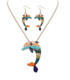 Wholesale Wholesale Ethnic Miao Silver - 30set Fashion Ethnic Jewelry Sets Rainbow dolphin Pendant Necklace Drop Earrings Gold Silver Colorful Drip Resin Charm Gift For Women F411