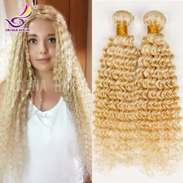 Wholesale 10-28inch bleached blonde color #613 russian brazilian peruvian indian malaysian virgin hair deep curly human hair extensions 4pcs Coupon