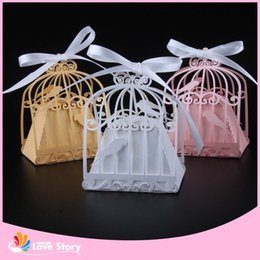 Wholesale Love Birds Decorations - Wholesale- 50pcs Birdcage Laser Cut Wedding Box Love Birds Candy Box Gift Box Wedding Gifts And Favors Party Supplies Wedding Decorations