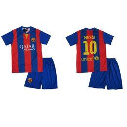 Wholesale Tracksuit Cheap - B Quality Cheap Boys Soccer Jersey Uniform Kids Football Trainning Sport Tracksuit Bacelona Bacelona Home Away