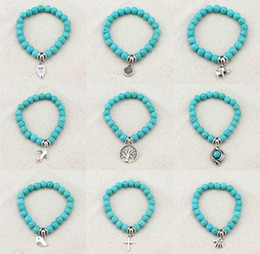 Wholesale Turquoise Jewelry For Girls - summer beach jewelry 2016 newest buddha to buddha beads natural stones bracelet bohemian style turquoise jewelry gift for women girl
