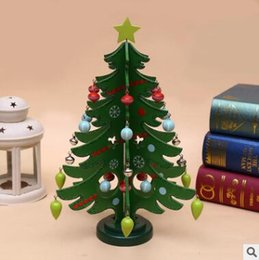 Wholesale Indoor Artificial Trees - Mini Wooden Christmas Tree DIY Wooden Artificial Christmas Tree Decorations Ornaments Wood Xmas Trees Gift Ornament Table Decoration 1043
