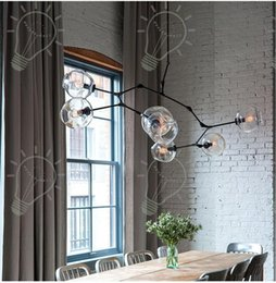 Wholesale Glass Plate Pendant Light - 2017 Nordic personalized molecular glass pendant lamp minimalist plated gold black pendant light Guest house villa bubble ball chandelier