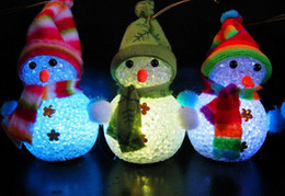 Wholesale Led Color Changing Snowman - Fashion Hot Color Changing LED Snowman Christmas Decorate Mood Lamp Night Light Xmas Tree Hanging Ornament