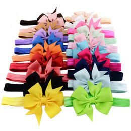 Wholesale Ribbon For Hair Accessories - 20 Colors Baby Hair Bows Ribbon Bow Headbands for Girls Children Hair Accessories Kids Elastic Hairband Princess Headdress Free Ship KHA190
