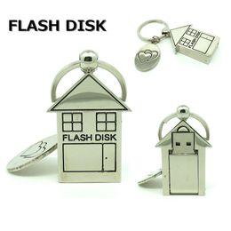 Wholesale Mini 32gb Pendrive - 64gb 1258gb mini metal love house usb flash drive disk keychain memory stick computer gift pendrive 32gb Pen drive