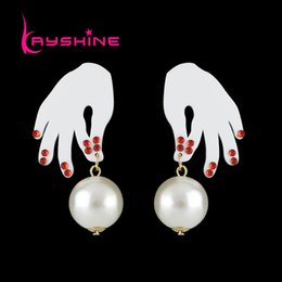 Wholesale Hand Shaped Earrings - Kayshine New Style Fashion Geometric Trendy Simulated-pearl Drop Earrings With Acrylic Hand Shape For Women