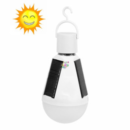 Wholesale Day Light Led Bulb - Ship In 1 Day + 7W E27 Hanging Solar Energy Rechargeable Emergency LED Bulb Light Daylight IP65 Waterproof Solar Panels Powered Night Lamp