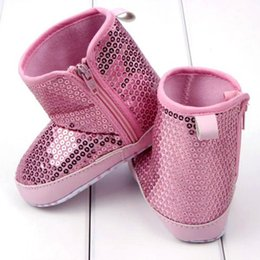 Wholesale Kids Bling Boots - Wholesale- Autumn Infant Kids Baby Girl Fashion Sequins High Boots Soft Bottom Anti-slip Walking Shoes