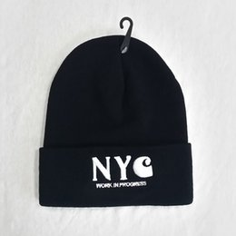 Wholesale Bones Work - NYC work in progress beanie hat for men women Winter cap brand fashion hip hop street casual skate bonnet touca inverno gorros chapeu bone
