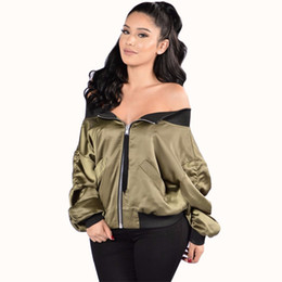 Wholesale Biker Jacket Black Women - Wholesale- Women basic green Navy Blue black coats Long Sleeves Autumn winter Shoulder Off Bomber Jackets Biker coats Ladies Tops Zipper Up