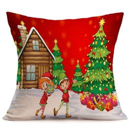 Рождественские подушки онлайн-High-qualityChristmas наволочка белье подушка обложка Лось Санта стиль печатных наволочка Xmas наволочка диван автомобиль Главная Рождество пакет