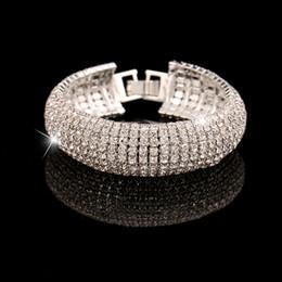 Wholesale Wrap Mesh Bracelet - Wholesale-Fashion Shiny Pretty Women Bracelet Gold & Sliver Plated Rhinestone Mesh Wrap Cuff Bracelets Bangles