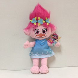 Wholesale wholesale dolls toys - 23CM Trolls Plush Toy Poppy Branch Dream Works Stuffed Cartoon Dolls The Good Luck Christmas Gifts Magic Fairy Hair Wizard