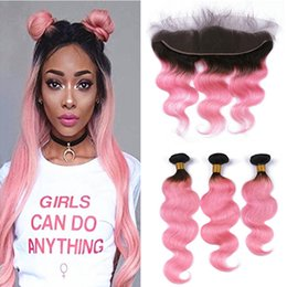 Wholesale 1b Pink Human Hair - Two Tone 1B Pink Ombre Body Wave Human Hair Weaves With Lace Frontal Closure Raw Indian Human Virgin Hair Full Frontals With Bundles