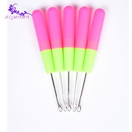 Wholesale Thread For Hair - Wholesale-Best Selling Plastic Crochet Latch Hook Needle 2pieces lot For Synthetic Braiding Hair Accessories Weaving Thread