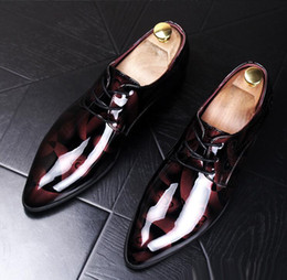 Wholesale Gold Glitter Wedges - Spring Autumn Men's Patent Leather Dress Wedding Shoes Soft Pointed Toe Casual Fashion Business Oxford Shoes Mens Loafers Flats