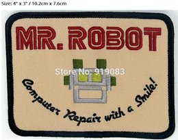 """Wholesale Robot Halloween Costumes - 4"""" HIGH QUALITY MR ROBOT FSOCIETY TV SHOW movie series Embroidered Emblem applique halloween costume cosplay"""