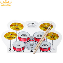 Wholesale Roll Up Drum Kit - Wholesale-Silicone Electronic USB Roll Up Drum Kit with Drumsticks Foot Pedal Musical