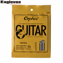 """Wholesale Nylon Strung Guitar - Wholesale- Sliver Jacketed Hard Tension Classic Guitar Strings 028 043"""" High Quality Nylon Orphee NX36"""