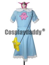 Luz estrella de mariposa online-Estrella contra las fuerzas del mal Princesa Star Butterfly Cosplay Vestido largo azul claro Messen
