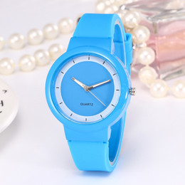 Wholesale Rubber Watches For Women - New Fashion Sport Watch Jelly Silicone Rubber Candy Quartz Watch Colorful Band Wristwatches for Women Girls Students
