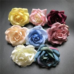 Wholesale Green Floral Bouquet - 100pcs Silk Rose Flower Artificial Flowers Silk Flowers Floral For Wedding Bouquet Home Party Design Flowers Head