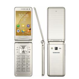 Wholesale Flip Mobiles - Original Samsung Galaxy Folder G1600 (2016) 3.8 inch Flip Mobile Phones Quard Core 2GB RAM 16GB ROM 4G LTE Phone