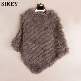 Wholesale Knitted Rabbit Poncho - Knit knited rabbit fur Shawl poncho stole shrug cape robe tippet amice wrap