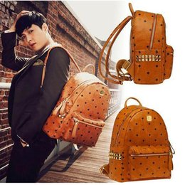 Wholesale Top Quality Leather Bags - 2017 Top Quality korean PVC leather backpack for Men Women sprots school backpack bags Punk Rivets backpacks Middle Small Size spree worthy
