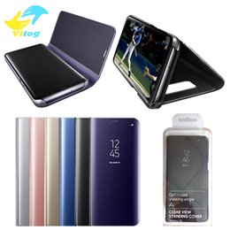 Wholesale Cover Cases For Phones - Official Phone Case Electroplate Clear Smart Kickstand Mirror View Flip Cover Sleep wake Phone Case Screen Protector For S8 S8 plus