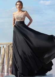 Wholesale Evening Dreses Sleeves - Elegant 217 A-Line Lace Appliques Evening Dreses With 3 4 Long Sleeves Off-the-shoulder Neck Lace-up Back Black Chiffon Evening Gowns Cheap