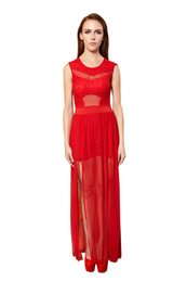 Wholesale Transparent Dressed Womens - Best Quality Cheap Maxi Dress Sleeveless Transparent Red Long Dress Party Casual Clothing dresses for womens