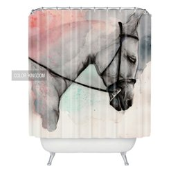 Wholesale Horse Bathroom - Wholesale- Wholesale Ink painting Bathroom Shower Curtain horse pattern Bath Curtain Retro style exquisite Shower Curtains custom made