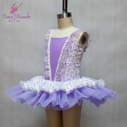 Wholesale Kids Ballerina Costume - Light purple ballet dance tutu with lace adorn, ballerina costume kids, stage wear for show, performance ballerina dress #0131