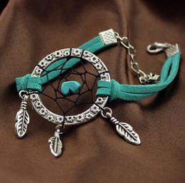 Canada Vintage Enchanted Forest Mini Dreamcatcher Bracelet fait à la main Dream Catcher Net Leaf Bracelet en cuir Décoration Ornement Diamètre 3cm Offre