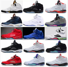 Wholesale grape basket - 2018 Chaussures 5 Bull Black Metallic White Grape Mens Basketball Shoes 5s Bel Air Black Grape Oreo CNY Designer Sneakers Basket Ball Shoe