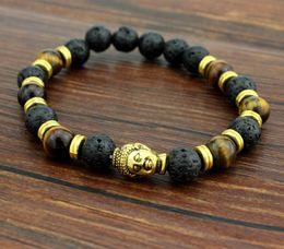 2019 pietra agata indiana 3 colori fascino naturale indiano agata Buddha pietra preziosa forma rotonda perline pietra lavica chakra bracciali guarigione braccialetto regalo braccialetto pietra agata indiana economici