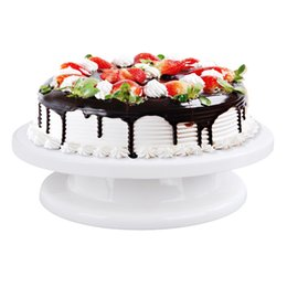 Wholesale Cake Turntables - Cake Mould Cake Turn Table Baking Molds Kitchen Tool Round Shape DIY Turning Table Lightweight Stable Flexible White Color
